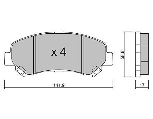 metelligroup 22-0792-0 Pastiglie Freno anteriori, Made in Italy, Pezzo di Ricambio per Auto   Automobile, Kit da 4 Pezzi, Certificate ECE R90, Prive di Rame