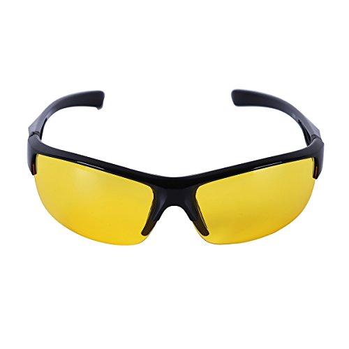 inlzdz Unisex Polarisierte Sportbrille Sonnenbrille Fahrradbrille für Herren und Damen mit UV 400 Schutz Outdoor Radbrille zum Skilaufen Radfahren Laufen Schwarz&Gelb One_Size