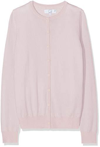 Amazon-Marke: MERAKI Merino Strickjacke Damen mit Rundhals, Rosa (Pale Pink), 36, Label: S