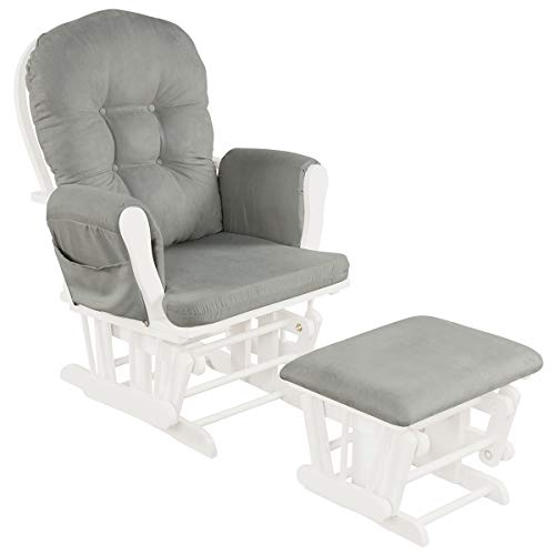 Costzon Baby Glider and Ottoman Cushion Set, Wood Baby Rocker Nursery Furniture, Upholstered Comfort Nursery Chair & Ottoman with Padded Arms (Light Gray)