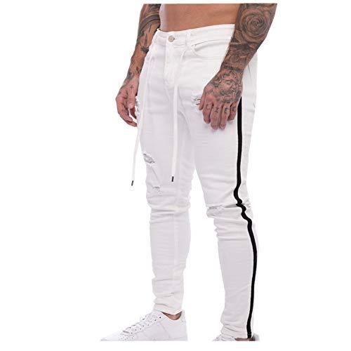 Hhckhxww Jeans da Uomo Bianchi Slim Fit Strappati con Cinturino A Spillo