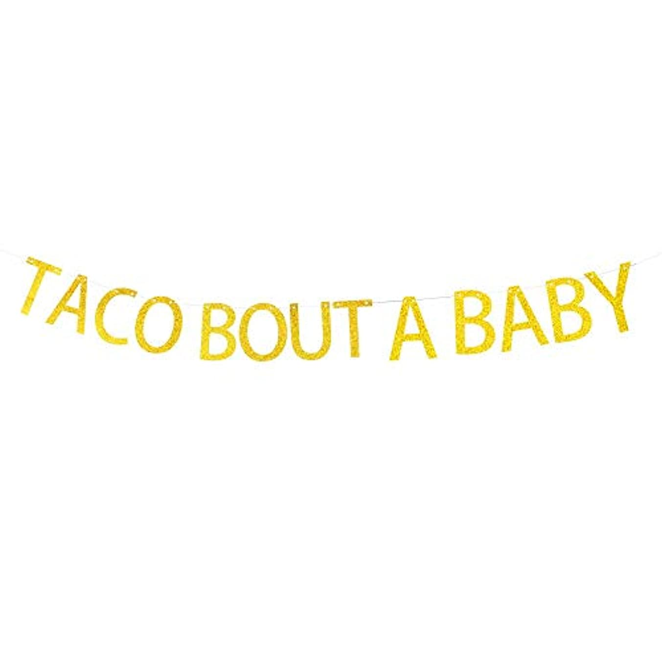 Taco Bout A Baby Banner Hanging Decor for Baby Shower,Baby Girl or Boy Birthday Party Decorations Gold Banner Pertlife
