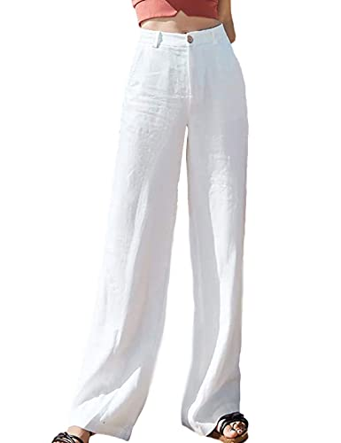 Hooever Womens Casual Loose High Waist Cotton Linen Straight Leg Pants Lounge Pants(White-XS)