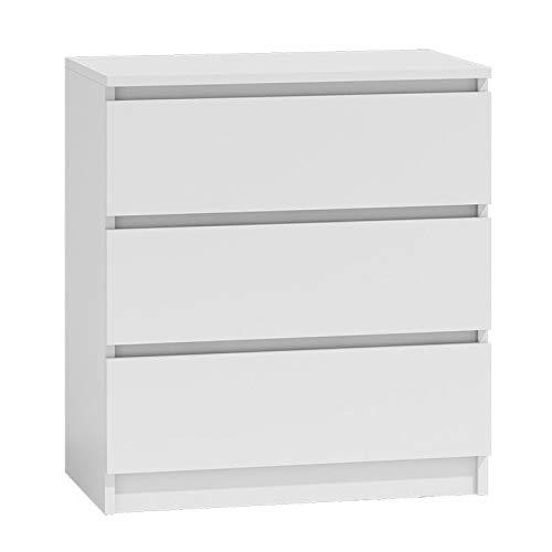 BIM Furniture Kommode Marbella 70 cm M3 mit 3 Schubladen Sideboard Highboard Cabitet Mehrzweckschrank (Weiss Matt)