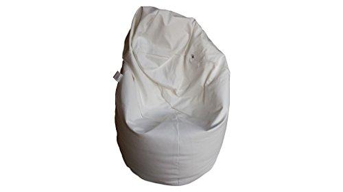 Natalia Spzoo® puff bean bag puf butaca polipiel para adultos y adolescentes (Blanco)