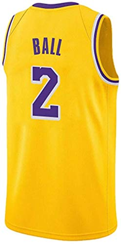 llp Jersey Men's Jersey Lakers Rondo 9# Ingram 14# Ball 2# Commemorative Vintage Match Jersey Fan Gift Jerseys (Color : Yellow2, Size : Medium)