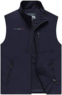 HAWEEL Men Sleeveless Stand Collar Loose Vest Multi-pockets Vest Windbreaker Jacket (Color : Dark Blue, Size : XXXL)