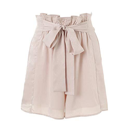 Show-Show-Fashion-pantalones cortos de satén con volantes de verano para mujer casual suave playa elástica