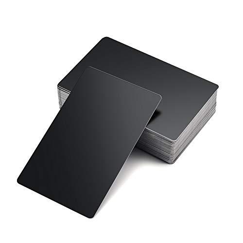 Faletony 50 tarjetas de visita de metal de aluminio, impresionantes, grabadas con láser, de metal, tarjetas de nombre de visita, 0,42 mm de grosor, color negro