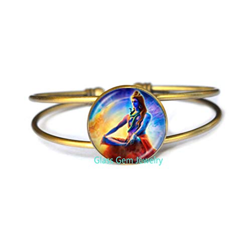 Lord Shiva Bangle Hindu God Buddha Bangle Handmade Buddhist Jewelry Charm Religious Bracelet Hinduism Bangle Jewelry,Q0227