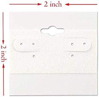 The Display Guys 100-pc Jewelry Display Hanging Earring Cards (White Flocked, 2 x 2) Fit 3 Pairs