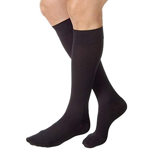 JOBST Relief Knee High 15-20 mmHg Compression Stockings, Closed Toe, X-Large Full Calf, Black