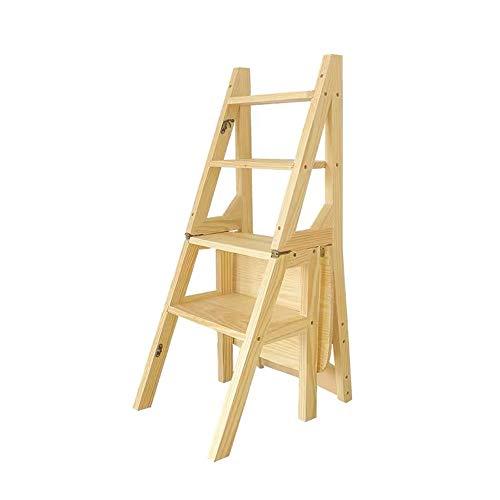 Z-H 4-laags houten kruk ladder indoor multifunctionele bloem opvouwbare stoel lager 200kg