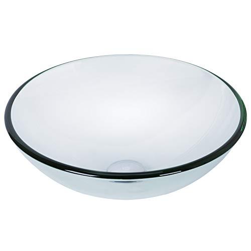 VIGO VG07074 16.5' L -16.5' W -6.5' H Clear Crystalline Handmade Countertop Glass Round Vessel Bathroom Sink in Iridescent Finish