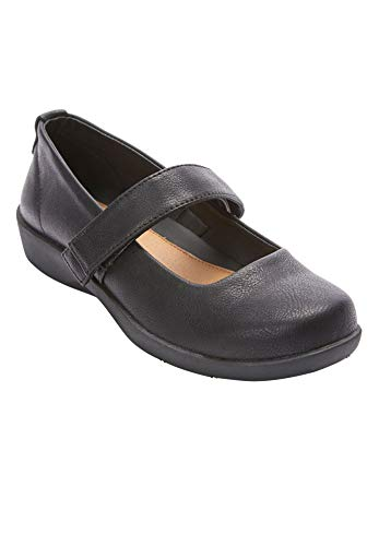 Comfortview Women's Wide Width The Carla Mary Jane Flat Comfortable Shoe Mary Jane Shoes - 12 M, Black