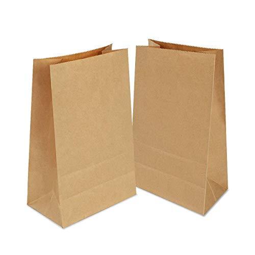 100 Stück Papiertüten Braun, Geschenktüten 21x12x7 cm Partytüten aus Papier Kraftpapiertüten für Geburtstagsfeiern, Weihnachten, Hochzeit, Firmenfeier(verdicken70gsm)