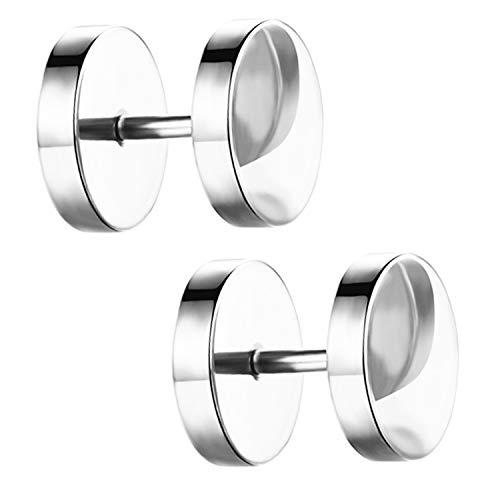 Ditz Damen Herren Ohrstecker Edelstahl Platte mit Kreis zum Schrauben Fake Plug Piercing Ohr Tunnel Doppel Ohrringe Rund Schlicht Silber 14mm
