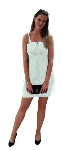 Am Laufsteg Etuikleid mit Chiffon kurzes Brautkleid Standesamt-Kleid Creme 38
