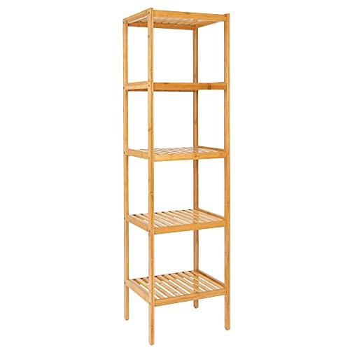 ML-Design Standregal Bambus mit 5 Ablagen 37x33x140 cm, Natur, stabil, im Flur, Wohnzimmer, Bambusregal Badezimmerregal Badregal Küchenregal Aufbewahrung Regal Haushaltsregal PflanzenregalBücherregal