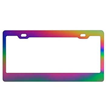 EXMENI Rainbow Shading License Plate Frame Aluminum Board Frames Theft-Proof Frames Custom Colorful Dye License Plate Holder with Stainless Steel Screw Caps