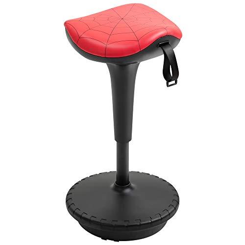 homcom Sgabello Basculante con Seduta a Sella di Cavallo Rossa e Base Oscillante 360°, per Ufficio, 38x38x65.5-83.5cm