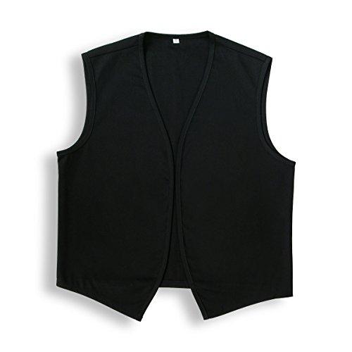 Unisex No Pocket Button Uniform Vest Halloween Costume Outfit (Medium, Black)
