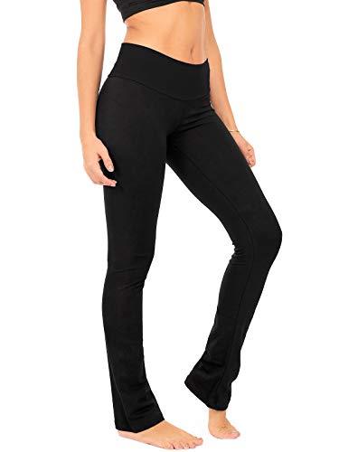 DEAR SPARKLE Bootcut Leggings for Women | Slim Look Bootleg Opaque Yoga Pants w Pocket Plus Size (C5) (Black, 2X-Large)