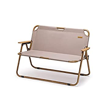 Naturehike Outdoor Furniture Double Wooden Folding Chair Camping Hiking Portable Leisure Chair  Khaki
