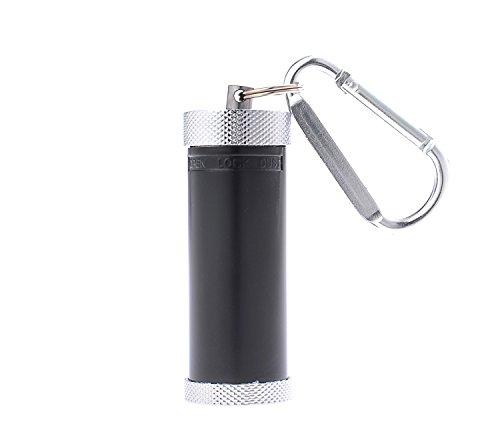 Mini cenicero/Cenicero de Bolsillo/Cenicero para Viajar con Forma de Cilindro, Hecho de aleación de cinc, con un mosquetón y de Color Negro, 022-01