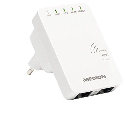 MEDION LIFE P85032 (MD 87070) WLAN Verstärker (802.11 b/g/n, 2.4 GHz, WPS, RJ45, Status LED) weiß