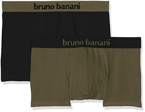 bruno banani Herren Short 2er Pack Flowing Boxershorts, Mehrfarbig (Oliv//Schwarz 2639), XX-Large