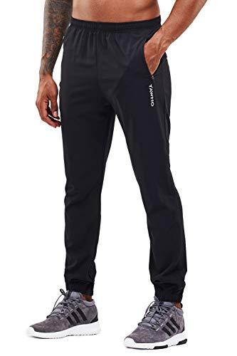 YAWHO Herren Jogginghose Trainingshose Sporthose Sweathose Fitnesshose Freizeithose Lang mit Reissverschluss Taschen und Kordelzug (Black (1601), S)