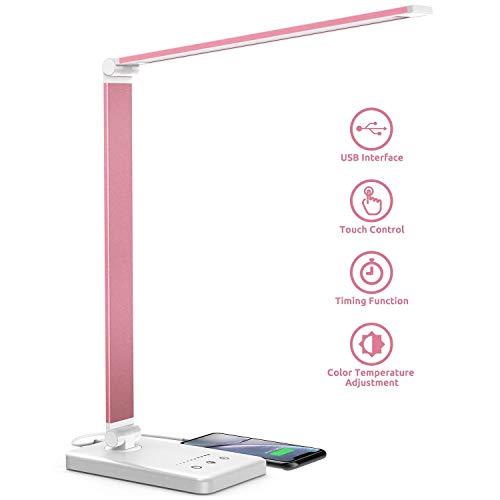Veramz Lampada da Scrivania LED, Lampada da Tavolo, 5 Modalità Colore, 10 Luminosità Dimmerabili, Funzione di Cronometraggio, Tocco-Controllo, Ricarica USB per Smartphone-Rosa