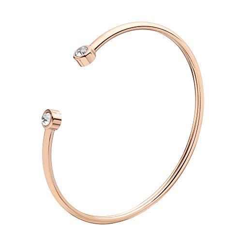 URBANHELDEN - Armreif mit Zirkonia Kristallen - Damen Schmuck - Verstellbar, Edelstahl - Armband mit Steinchen - Damenarmband Schmuck - Rosegold