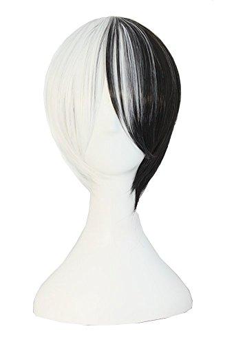 MapofBeauty mischfarbige kurze gerade Cosplay Perücke (schwarz/weiß)