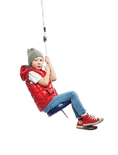 SUMMERSDREAM Disk Seat Swing Daisy Disc Monkey Swing Rope Tree Swing (Blue)