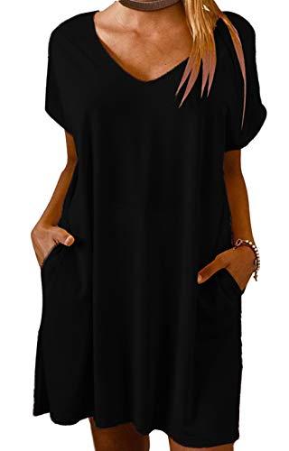 Yidarton Vestido de verano de lino para mujer, cuello en V, vestido de playa, monocolor, línea A, vestido bohemio, largo hasta la rodilla, sin accesorios Zyz/Negro S