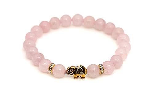 Cuarzo rosado pulsera de elefante con perlas naturales y piezas destacadas de cristal – BERGERLIN