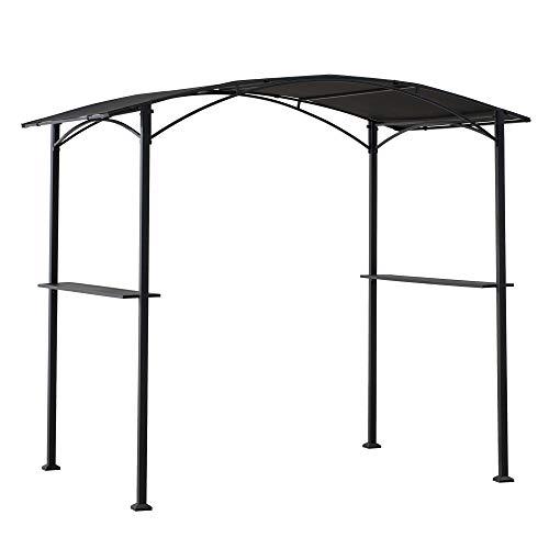 Sunjoy A103002000 Doutzen 5x8 ft. Black Steel Grill Gazebo with Arch Canopy