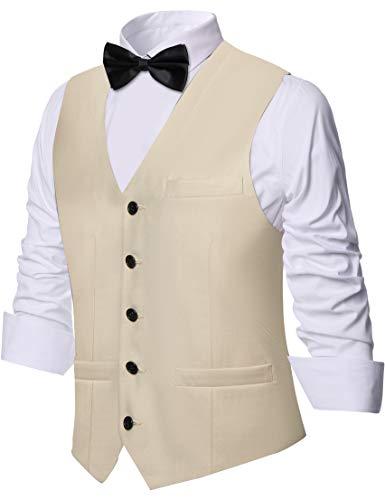 Coucoland Hommes Gilet Slim Fit Formelle Business Costume Gilet Classique Col en V sans Manches Coupe Régulière Casual Gilets pour Dîner de Mariage (Beige, M)