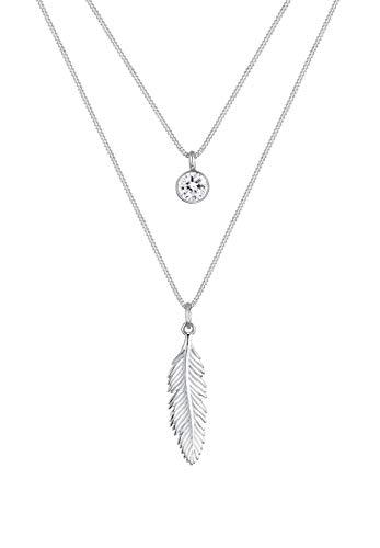 Elli Collares colgante en forma de plumas con cristales en plata esterlina de ley 925