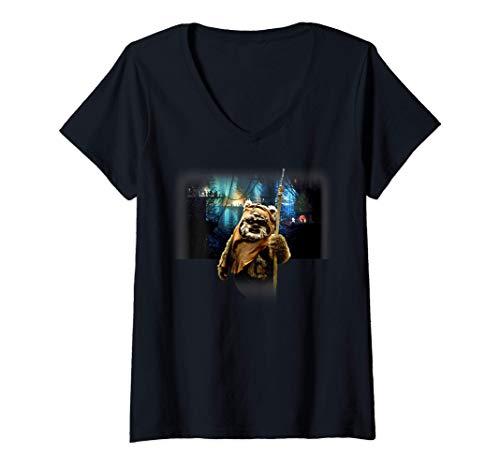 Damen Star Wars Ewok Wicket Village T-Shirt mit V-Ausschnitt