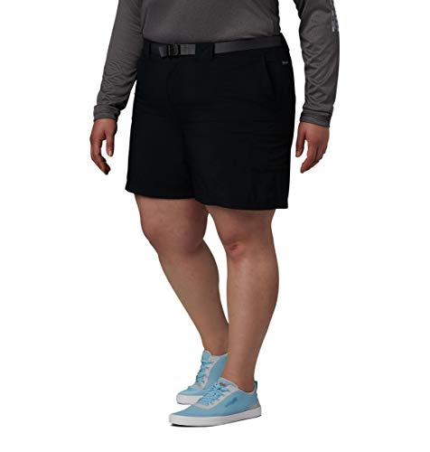 Columbia Women's Plus Size Sandy River Breathable Cargo Short with UPF 30 Sun Protection, Black, 1X