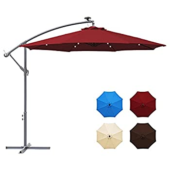 LOVE STORY 10ft Solar LED Offset Patio Umbrella,8 Ribs-Cantilever Hanging Umbrellas,Polyester Shade with Crank & Cross Bases,32 LED Lights Umbrella-Burgundy
