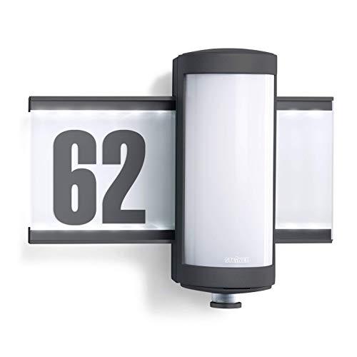 Steinel Außenleuchte L 625 Hausnummer beleuchtet LED Wandleuchte mit 360° Bewegungsmelder, Aluminium, 10 W, Anthrazit [Energieklasse A++]