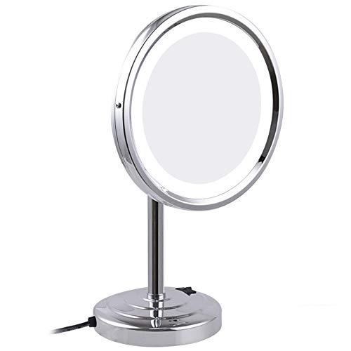 Espejo Maquillaje DMNSDD LED Espejo Maquillaje con Luces, Espejos tocador encimera latón con Aumento 8 Pulgadas, Espejo cosmético Iluminado por rotación con Interruptor y Enchufe