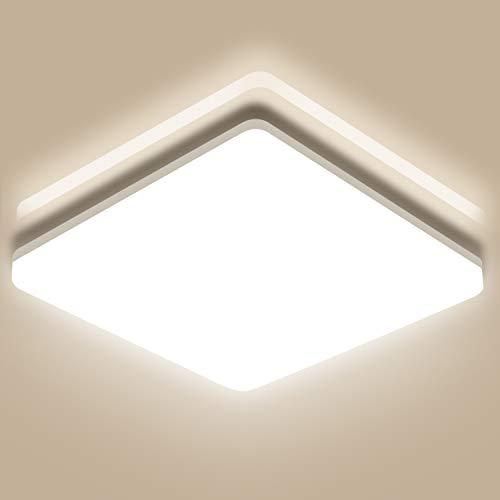 Oeegoo 18W LED Deckenleuchte Bad, IP44 Wasserfest Badlampe, 1800Lumen Deckenlampe für Badezimmer Schlafzimmer Wohnzimmer Kinderzimmer Balkon Flur Küche Esszimmer, 4000K 28x28x4.8cm