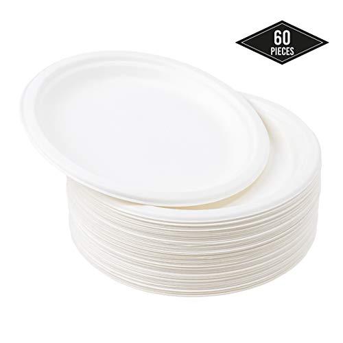60 Dessertteller Einwegteller aus Zuckerrohr, 18cm  Stabil & Robuste Klein Pappteller  Umweltfreundlich Kompostierbare & Biologisch Abbaubar  Flüssigkeitsdicht & Mikrowellenfest  Plastik-Alternative.