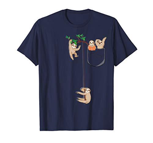 T-Shirt, Happy Sloth Family Habitat in Pocket