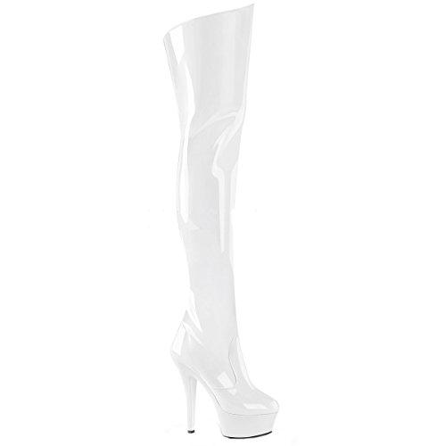 Higher-Heels PleaserUSA Plateau-Overknee-Stiefel Kiss-3010 Lack weiß Gr.43